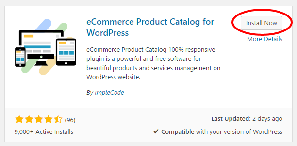 eCommerce Product Catalog install button