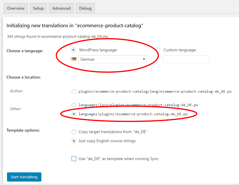 Copy eCommerce Product Catalog Translation