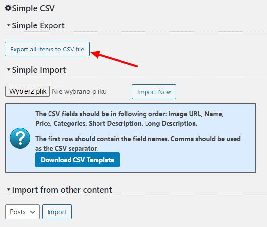 Simple product export settings screenshot