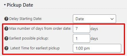 Pickup Date Limit Options